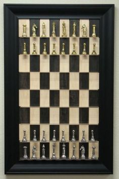 Vertical wall mounted chess set - Small space - DIY simple. What a cool idea for a library or study!