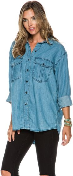 FREE PEOPLE XO DENIM BUTTONDOWN SHIRT