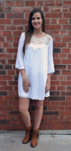 **SALE** S M LACE NECKLINE FLOWY FLARE BELL SLEEVE DRESS - FREE US SHIP #ENTRO #Casual