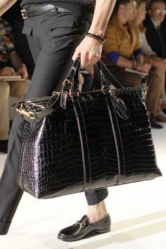Gucci black crocodile travel bag