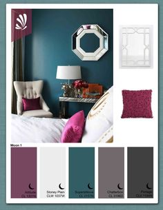 dark teal accent wall & color scheme.