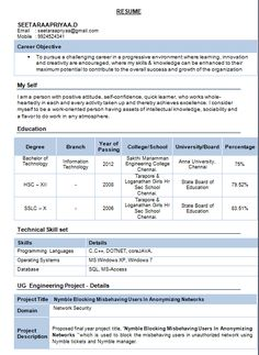 resume template for fresher 10 free word excel pdf format - Sample Resumes For Btech Freshers Pdf