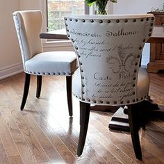 I have this chair! I'd love to reupholster it like this! SO pretty!