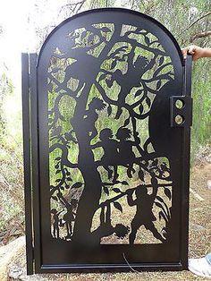 Metal-Art-Gate-Children-Tree-Steel-Ornamental-Iron-Estate-Garden-Walk-Pedestrian