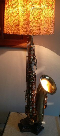 Upscaled Tenor Sax Lamp and Vintage Shade--Two Lamps in One by maryellenbrandt1, $255.00
