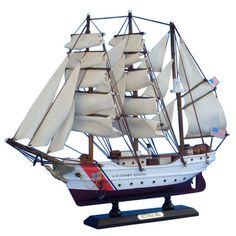 Features:  -High quality woods include cherry, birch, maple and rosewood.  -Handcrafted wooden hull and masts.  -Metal nameplate on wooden base identifies the ship as the Eagle.  -With all sails mount