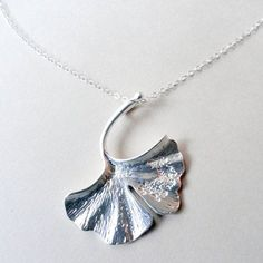 White gold Ginkgo Biloba leaf necklace, STERLING SILVER,Simple jewelry, Everyday necklace, botanical, feminine, leaf pendant, matte