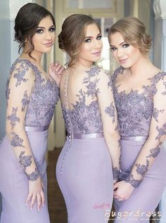 Illusion Sleeves Mermaid Lavender Bridesmaid Dress from Sugerdress - 2020 Fashions Woman's and Man's Trends 2020 Jewelry trends Lavender Bridesmaid Dresses, Mermaid Bridesmaid Dresses, Bridesmaid Dresses Plus Size, Mermaid Dresses, Prom Dresses, Dress Prom, Lace Prom Gown, Dresses Uk, Dresses Online