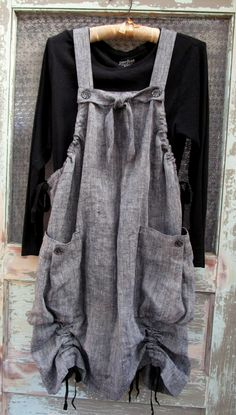 Heather Grey Linen Market Jumper with Big Pockets, Lagenlook, Apron, Artist Smock, Pinafore by muircourt on Etsy