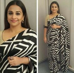 of January marks its first day of the year and on this day Vidya Balan celebrates her birthday too. As we wish Vidya Balan a very Happy Birthday and a prosperous New Year, we would like to reflect back on the times when her simple style killed us all. Black And White Fabric, Black N White, Bollywood Sarees Online, Ethnic Sarees, Indian Sarees, Vidya Balan, Black Saree, Casual Saree, Traditional Sarees