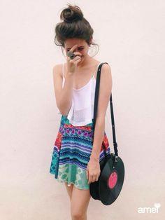 SEJA feliz. ❤️ #lojaamei #novidades #tricot #saia #verao