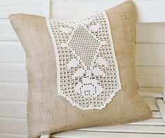 burlap and a doily . . . a niece blend of two worlds.