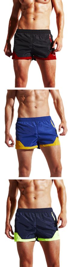 Mens Sexy Beach Shorts Mini Zippered Pocket Quick-drying Casual Sports Shorts