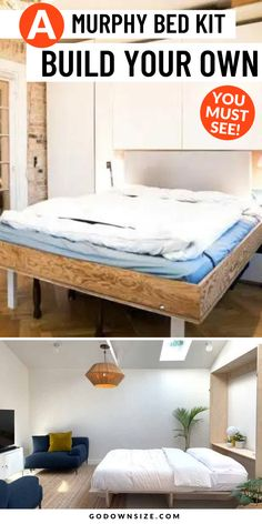 If you're considering building your own DIY Murphy bed you need to have the right equipment. Even better is a kit! We recommend ones that have all the hardware you need so you only need to find some proper wood and the right tools. It's a great DIY project that can save you a lot of money. Check out our suggestions right now! Space Saving Beds, Space Saving Furniture, Storage Hacks, Bed Storage, Small Apartments, Small Spaces, Murphy Bed Kits, Transforming Furniture, Wall Beds