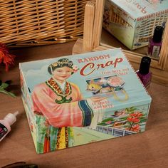 $17.69 Perfectly proportioned for maximum crap containment, the Random Crap Tin helps you clean up your act and keep your trash treasures safe.  Decorated with some vaguely vintage 'oriental' style designs and made from metal it's the perfect place to stash your stray stuff.