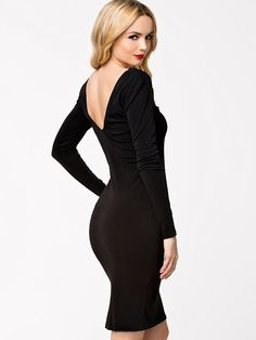 0d039fd6aa Back Deep V-Front Midi Dress by John Zack in Black Latest Fashion, Womens