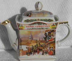 James Sadler Merry Christmas Tree Teapot St Pauls | eBay