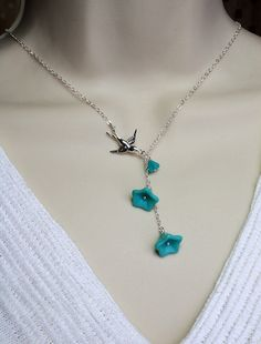 Silver Jewelry  Silver  Bird and Turquoise Flower by MenuetDesigns, $28.50 (Something Blue)