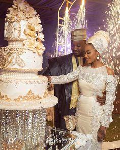 Fatima Sheriff and Mustapha Indimi's Fairytale Wedding Is Absolutely Breathtaking - Wedding Digest Naija African Wedding Cakes, African Wedding Theme, Nigerian Wedding Dress, African Wedding Attire, Nigerian Weddings, African Weddings, African Traditional Wedding Dress, Wedding Trends, Wedding Ideas