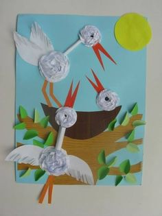 ooievaar knutselen met papier Bird Crafts, Animal Crafts, Diy And Crafts, Crafts For Kids, Arts And Crafts, Paper Crafts, Spring Activities, Art Activities, Spring Art