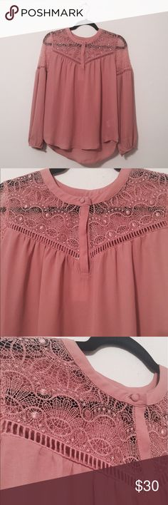 HEARTLOOM  Iselle Pink Blouse A beautiful top with a lace design and a pink color! New with tags! Heartloom Tops Blouses