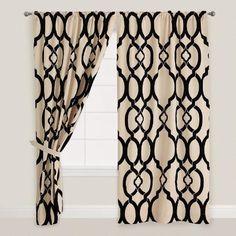 Black Trellis Ethel Flocked Chambray Curtains, Set of 2 | World Market