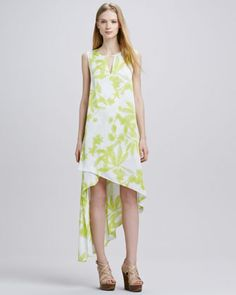 Printed Asymmetric-Hem Keyhole Dress by BCBGMAXAZRIA at Neiman Marcus.