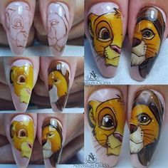 Cartoon Nail Designs, Cute Nail Art Designs, Disney Acrylic Nails, Disney Nails, Minion Nails, Cat Nails, Funky Nail Art, Funky Nails, Lion King Nails