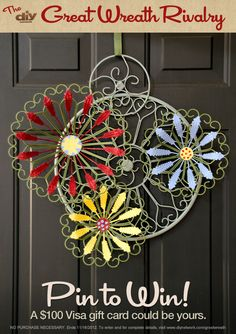 Pin a wreath and you could win a Visa gift card! Enter DIY Network's Great Wreath Rivalry at http://www.diynetwork.com/great-wreath-rivalry/package/index.html?soc=pinterest-greatwreath. #diy #wreath