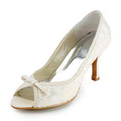 Women's Lace Stiletto Heel Peep Toe Sandals With Bowknot (047005735) - JenJenHouse
