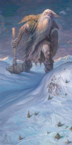 Svjatogor by Petar Meseldžija.  Titanic hero-warrior in Russian mythology and folklore. A giant living in the Holy Mountains after which he is named, he and his mighty steed are so large that, when they ride forth, the crest of his helmet sweeps away the clouds. Svyatogor is the eldest of Russia's bogatyri, and in many ways he is the saddest. His days of glory are long behind him, and he is depicted in most epic poems as an old, tired warrior, doomed to fade away.