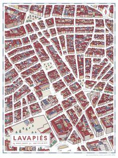 Y siguiendo con la ruta, el ilustrador Andrés Lozano se encarga de mapear Lavapiés. | 19 mapas que te enseñarán un Madrid muy diferente