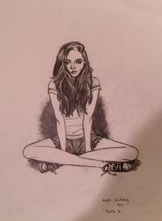 Girl sitting cross legged by taylorbirdsong