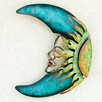 Handcrafted Mexican Sun and Moon Steel Wall Art Sculpture - Sensorial Eclipse Metal Wall Sculpture, Steel Sculpture, Wall Sculptures, Sun Moon Stars, Sun And Stars, The Magic Faraway Tree, Ceramic Workshop, Iron Wall, Moon Art