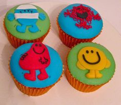 Mr Tickle and Mr Men Cupcakes Mr Men and Little Miss cakes party kids boys girls birthday cupcake popcake cookies Girl Birthday Cupcakes, Fathers Day Cupcakes, Cupcakes For Men, 4th Birthday Parties, Man Birthday, Birthday Ideas, Miss Cake, Mr Men Little Miss, Beautiful Cupcakes