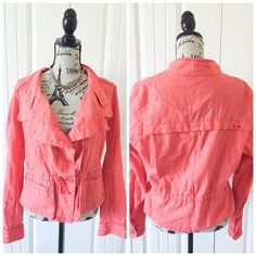 """Pink Linen Style Jacket Price Firm This jacket has a really pretty warm/hot pink and it cinches at the waist. Nice layering piece for Spring.{actual color of item may vary slightly from pics}‼️Price firm unless bundled  *shoulders19:"""" *chest:18"""" *waist:17"""" *length:20""""-sleeves-25""""  *material/care:55%linen 45%cotton machine wash *fit:true to size  *condition:small snag on shoulder where price tag was/️no stains/new   20% off bundles of 3/more items No Trades  NO HOLDS No transactions outside…"""