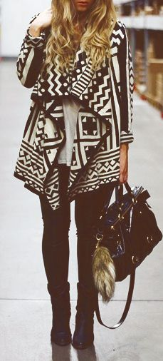 Tribal wrap cardigan