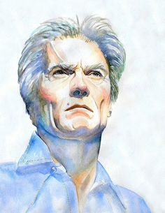 CLINT EASTWOOD Art Print from Original Watercolor by workingwoman, $35.00