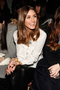 olivia palermo, leather pants