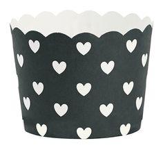 Cupcake vormpjes zwart met witte hartjes (24st.)