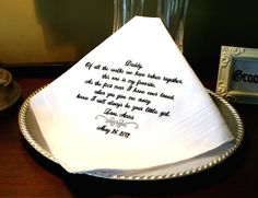 Father of The Bride Handkerchief -Hankie - Hanky - FAVORITE WALK with MOTIF - Gift for Father of the Bride - Wedding - MisterandMrs. $22.95, via Etsy.