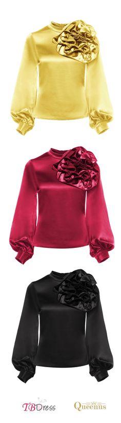 Length: Standard; Sleeve Length: Long Sleeve; Sleeve Type: Lantern Sleeve; Neckline: Stand Collar;