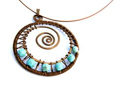 Turquoise Stone Beads and Beautiful dark Copper by CarrieEastwood, $35.00