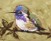 Hummingbird painting original oil painting by LaveryART Small Paintings, Animal Paintings, Bird Paintings, Hummingbird Painting, Bird Art, Painting Inspiration, Painting & Drawing, Watercolor Paintings, Art Projects