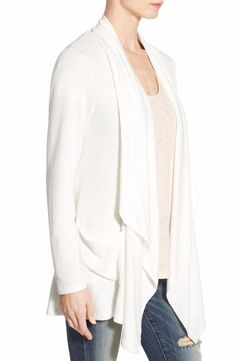 Bobeau Two-Pocket Drape Front Cardigan Size XX-Small P Ivory FTC #3449