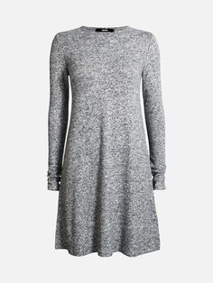 Lovely day dress in a knitted soft brushed material. Slightly A-shaped. Knee length.  Meleerattu tummanharmaa