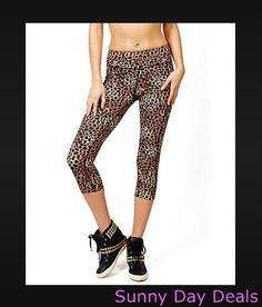 3a8eb383ab828 Betsey Johnson Performance Leggings Leopard Rosebud Crop Yoga Pink Brown S    eBay
