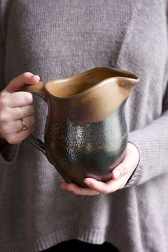 Ceramic Pitcher Pottery Vase in Expresso Brown by FringeandFettle, $52.00