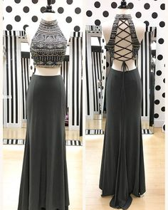 Dark Grey Jersey Boho Prom Dresses,Two Pieces Prom