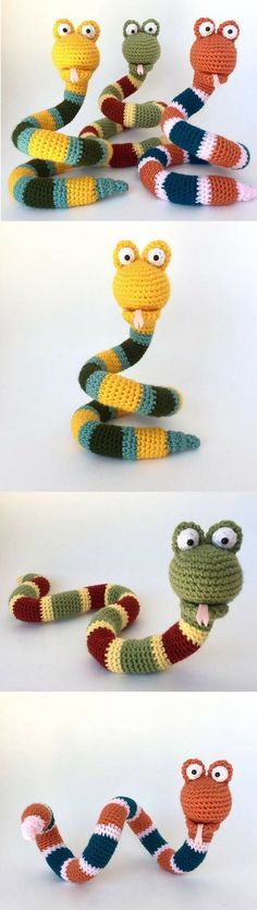 Amigurumi Snake Crochet Pattern Printable We are want to say thanks if you like to share this post to another. Crochet Baby Toys, Crochet Toys Patterns, Crochet Patterns Amigurumi, Cute Crochet, Crochet Animals, Crochet Crafts, Crochet Dolls, Yarn Crafts, Crochet Projects